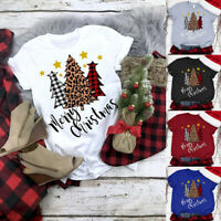 WoFBns Christmas T-shirt XMAS Tree Print Blouse Short Sleeve Casual TopsLadiesFB