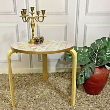 HAND PAINTED OCCASIONAL TABLE MODERN STYLE HAND PAINTED PASTEL COLOURS ROUND
