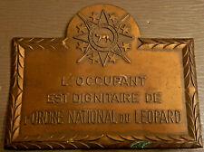 Zaire Congo Plaque d'occupant Dignitaire de l' Ordre National du Léopard