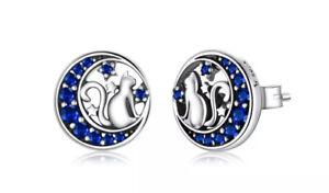 Orecchini Donna In Argento 925 Gatto Luna e Stelle Con Zirconi Blu
