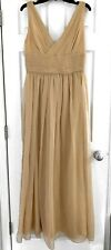 Monique Lmuillier Dress Gold Ball Gown Tulle Sleeveless Evening Size 10 $500