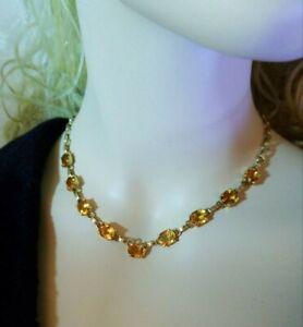 14K Yellow Gold Citrine Gemstone Vintage, Statement Necklace