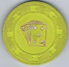 Unidentified Heart Flush Hat & Cane Poker Casino Chip Lime Green