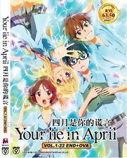 DVD Anime Your Lie In April Complete Series (1-22 End +OVA) Shigatsu wa Kimi NEW