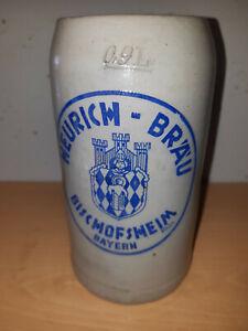 Bierkrug Steinkrug Masskug Brauerei Heurich Bräu Bischofsheim Rhön  0,9L