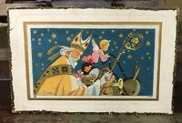 True Vintage Old World Santa Postcard Artist Signed St Nicholas In Yellow Robe