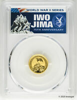 2020-P $15 Iwo Jima 75th Anniversary 1/10oz Gold Coin PCGS MS70 First Day Issue