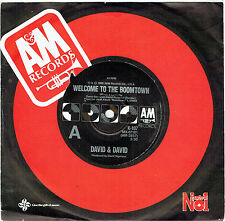 """DAVID & DAVID - WELCOME TO THE BOOMTOWN - 7"""" 45 VINYL RECORD - 1986"""