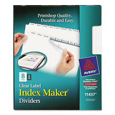 Avery Print & Apply Clear Label Dividers w/White Tabs 8-Tab Letter 5 Sets 11437