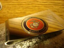 """Stainless Steel Silver tone Money Clip U.S. Marine Corps 1"""" Polyurethane Dome"""