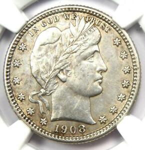 1908-S Barber Quarter 25C Coin - Certified NGC AU Details - Rare Date Coin!