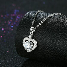 """Silver Made with Swarovski Elements  Love Heart Necklace 18"""" + 2"""" Extender"""