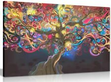 Psychedelic Trippy Art Tree Canvas Wall Art Picture Print