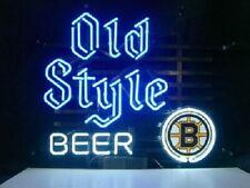 "Boston Bruins Old Style Beer Neon Lamp Sign 20""x16"" Bar Light Windows Glass Pub"