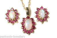 9ct Gold Opal and Ruby Pendant and Earring set Made in UK Gift Boxed