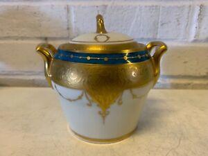 Antique Bavaria Porcelain Lidded Sugar Bowl with Blue & Gold Decorations