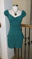 Vintage Betsey Johnson Green Floral Sexy Bodycon Ruffle Dress XS