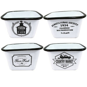 800ML Black and White Enamel Square Bowls Featuring a Stylish Country Farm Desig