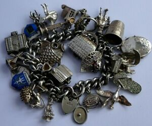 Stunning vintage solid silver charm bracelet & 30 charms, rare,open,move,103.7g