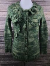 Sleeping On Snow Anthropologie Green Snow Curry Comb Wool Cardigan Size Medium