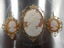 Art Nouveau 14K Solid Gold & Cameo Earrings and Pendant Set, LOVELY!