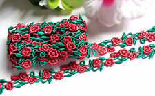 1/2 inch wide Red+Green Rose Flower lace trim 1 yard and 32 inch cut