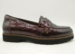 Earthies Braga Burgundy Patent Leather Slip On Penny Loafers Shoes Women's 8 B