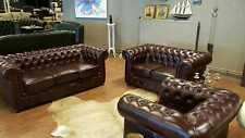 Chesterfield Sofagarnitur Sofa Couch Polster 3+2+1 Ledersofa Komplette Garnitur