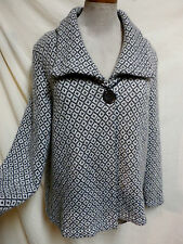 JM Collection Plus Size Gray & White Acrylic/Wool Blend Easy Care SweaterCoat 1X