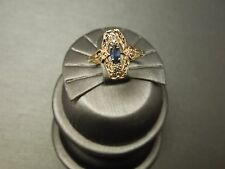 Vintage Estate C1950 10K Gold Filigree 0.28 TCW Blue Sapphire & Diamond Ring