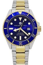 *BNIB* Henry Jay Mens Luxury 23K Gold Plated Stainless Steel Watch Submariner