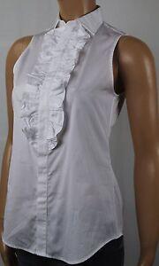 Polo Ralph Lauren White Ruffle Sleeveless Blouse Shirt NWT $125