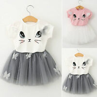 2PCS Toddler Baby Girl Kid T Shirts Tops Tutu Skirt Dress Summer Outfits Set New