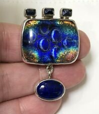 Unique Sterling Silver Pendant with Dichroic Glass, Iolite and Lapis