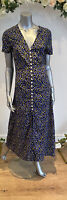 Wednesday's Girl Tea Dress Size 8 12 18 22 Black Floral Button Through Midi GU78