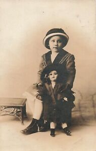 Real Photo Postcard Girl and Her Doll Button Shoes     JJ