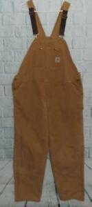 Men's Vintage Brown Duck Insulated Carhartt Bib Work Overalls Double Knee 50x32