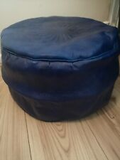 Genuine Leather Pouffe Moroccan Handmade New Blue