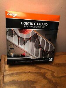 NEW Halloween Lighted Garland - Orange Mini Lights on Black Gauze Fabric 9 Ft.