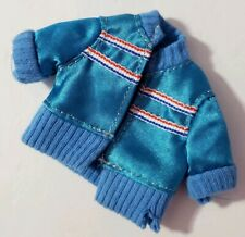 Barbie Doll Clothes Blue Short-Sleeve Jacket Red White Striped Accents Fashion