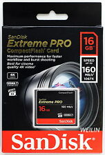 SANDISK 16GB Extreme PRO Compact Flash CF Card 160MB/s 1067x UDMA7 16G 4K video