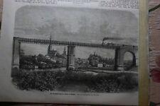 1864  Stich  10 / Eisenbahnbrücke Pilsen Böhmen Tschechien / Ernest Renau