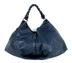 BOTTEGA VENETA Navy Nappa & Black Patent Intrecciato AQUILONE Hobo Bag