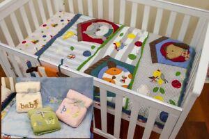 Quilt Comforter Cot Set Baby Bedspread Puppy Embroidered Bonus 1 Baby Blanket