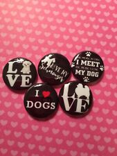 "15 I Love Dogs Pomeranian Schnauzer Kawaii 1"" Pinback Button Pin Badge Set"
