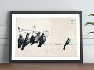 BANKSY RACIST PIGEONS FRAMED ART POSTER GRAFFITI PICTURE PRINT ARTWORK 4 SIZES