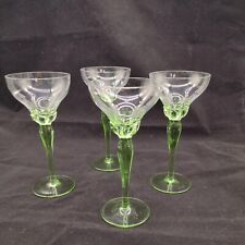 Vintage Hand Blown Tall Green Stem Petal Edge Art Glass Wine Glasses x 4