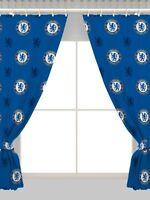 NEW CHELSEA FC CURTAINS PAIR - 66 x 54 Inch - BOYS KIDS BLUE FOOTBALL BEDROOM