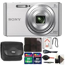 Sony DSC-W830 20.1MP Point and Shoot Digital Camera Silver + Accessory Kit