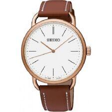 Seiko SUR238 P1 Rose Gold/White Dial Brown Strap Women's Quartz Watch